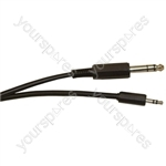 Standard 6.35 mm Stereo Jack Plug to 3.5 mm Stereo Jack Plug Screened Lead - Lead Length (m) 5