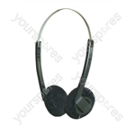 Lightweight Stereo Headphones With Black Pads - Packing Bulk