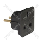 Travel Adaptor (UK to European Schuko) 7.5A - Colour Black