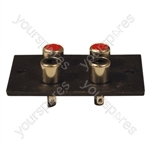 Red/White 4 Way  Phono Sockets Paxolin Panel Solder Terminals