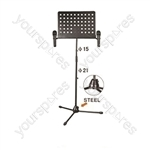 NJS Black Conductors and Sheet Music Stand With Twin Microphone Holders