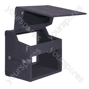 "Black Carpeted Wooden Twin CD 19"" Mixer Case With Lift Off Hinges - Mixer Size 4U"