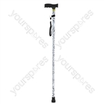 Folding Extendable plastic handled patterned walking stick - Design Black/White Animal Print