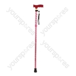 Extendable Plastic Handled Walking Stick with Engraved Pattern - Colour Red