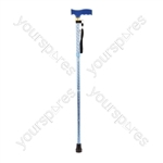 Extendable Plastic Handled Walking Stick with Engraved Pattern - Colour Blue