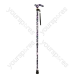 Deluxe Patterned Walking Cane - Colour Violet