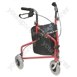 Three Wheeled Steel Walker  - Colour Red