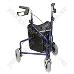 Three Wheeled Steel Walker  - Colour Blue