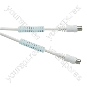 Standard Digital Coaxial Plug to Coaxial Socket TV and Video Lead with Ferrite Rings White  - Lead Length (m) 2