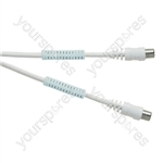 Standard Digital Coaxial Plug to Coaxial Plug TV and Video Lead with Ferrite Rings White - Lead Length (m) 2
