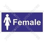 Female Toilet Sign - Self Adhesive Vinyl - 100mm x 200mm