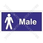 Male Toilet Sign - Self Adhesive Vinyl - 100mm x 200mm