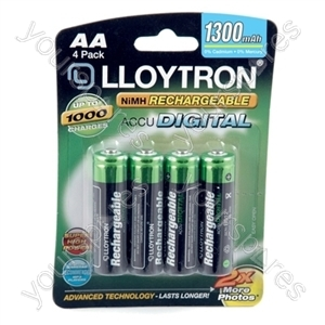4Pk NIMH AccuDigital Battery - AA 1300mAh