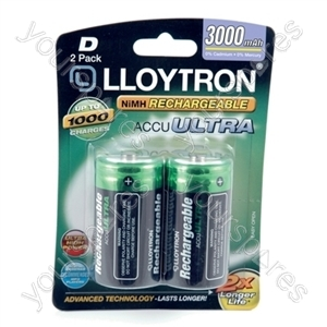 2Pk NIMH AccuUltra Battery - D 3000mAh