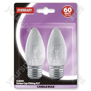 Eveready Candle 60w Es Clear Blister Of 2