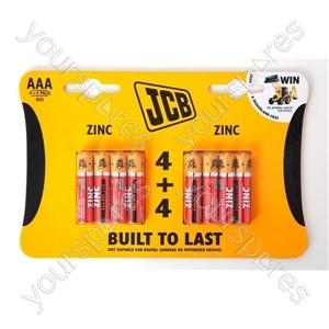 Jcb R03/aaa 4+4 Pk Zinc Cdu 12pks