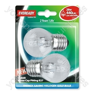 Eveready Es Golf (40w) 28w Clear E27 Blister Of 2