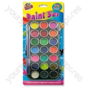 B2040 Tray Paints X 21 & Brush Set