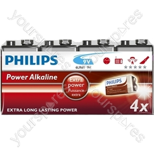 Philips 9v Power Alk 4pk (6lr61p4f/10)