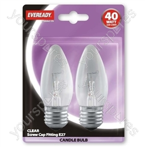 Eveready Candle 40w Es Clear Blister Of 2