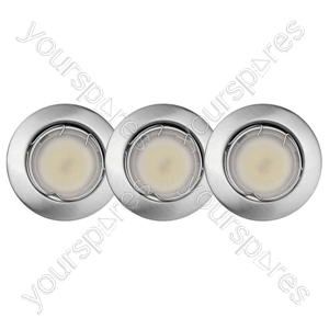Ind Led Fix Recess X3 Brushed