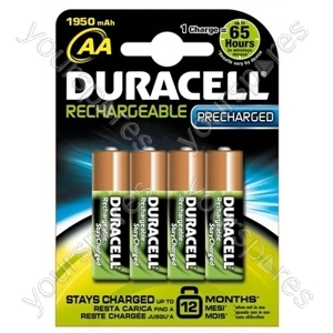Duracell AA Stay Charged Rechargeable Batteries Pk4 203853 1950 mAh