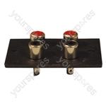 Red/White 4 Way  Phono Sockets Paxolin Panel Solder Terminals