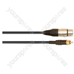 Professional 3 Pin XLR Line Socket to Phono Plug With Neutrik, Rean Connectors and Klotz Cable  - Lead Length (m) 0.5