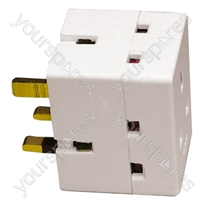 White 3 Way 13A Adaptor.  Blister