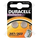 Duracell Silver Oxide Coin 357/303 Battery (Pack of 2)