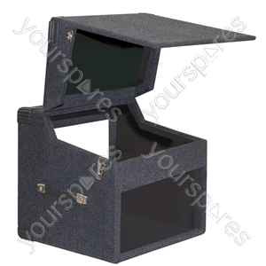 "Black Carpeted Wooden Twin CD 19"" Mixer Case With Lift Off Hinges - Mixer Size 6U"