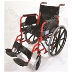 Deluxe Self Propelled Steel Wheelchair - Colour Red