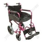 Compact Transport Aluminium Wheelchair - Colour Deep Pink