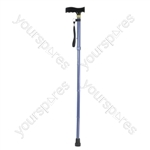 Folding Extendable plastic handled patterned walking stick - Design Blue/Grey Checkered