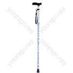 Folding Extendable plastic handled patterned walking stick - Design Blue/White Floral