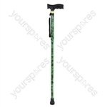 Extendable wooden handled walking stick with camouflage pattern