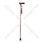 Extendable Plastic Handled Walking Stick with Engraved Pattern - Colour Brown