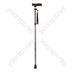 Extendable Plastic Handled Walking Stick with Engraved Pattern - Colour Black