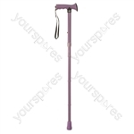Folding Rubber Handled Walking Stick - Colour Lilac