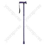 Folding Rubber Handled Walking Stick - Colour Bright Blue