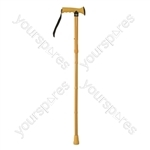 Folding Rubber Handled Walking Stick - Colour Yellow