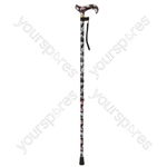 Deluxe Patterned Walking Cane - Colour Black Floral