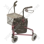 Lightweight Tri Walker with Bag and Basket - Colour Red