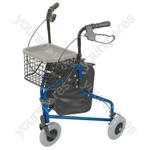 Lightweight Tri Walker with Bag and Basket - Colour Blue