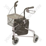 Lightweight Tri Walker with Bag and Basket - Colour Silver