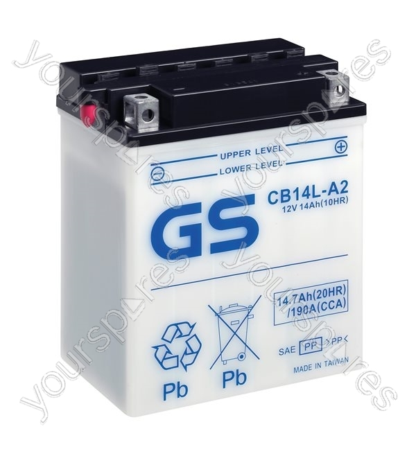 motorcycle cb series battery 12v 14ah 190cca cb14l a2 by gs batteries. Black Bedroom Furniture Sets. Home Design Ideas