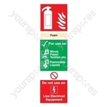 Foam Fire Extinguisher Sign - Rigid Polypropylene - 300mm x 100mm