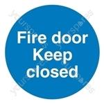 Fire Door Keep Closed Sign - Self Adhesive Vinyl - 100mm x 100mm
