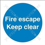 Fire Escape Keep Clear Sign - Self Adhesive Vinyl - 100mm x 100mm