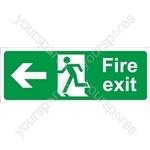 Fire Exit Arrow Left - Self Adhesive Vinyl - 150mm x 400mm